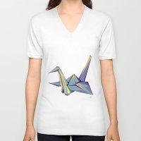 origami V-neck T-shirts featuring Origami by Daniela Castillo