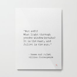 Romeo and Juliet, William Shakespeare, typed. Metal Print