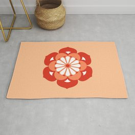 Lotus Flower Mandala, Pastel Orange and Mandarin Rug