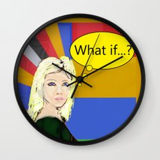 What if...popart female portrait Wall Clock