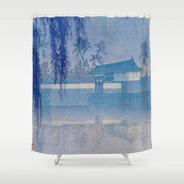 Kawase Hasui Sakurada Gate in Tokyo; Rare Blue Version 1928 Japanese Woodblock Print Shower Curtain