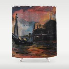 Misty Dock at Sunset Shower Curtain