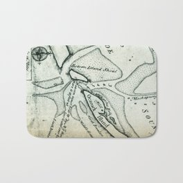 Ocracoke Inlet Map - Blackeard's Anchoring (1733) Bath Mat