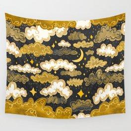 Midnight Ochre Rainclouds - Golden Wall Tapestry