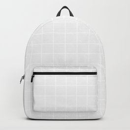 Cultured - grey color - White Lines Grid Pattern Backpack