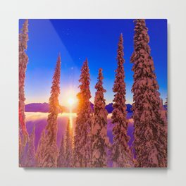 winter mountain sky forest gradient 0284 Metal Print