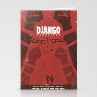 quentin tarantino Stationery Cards featuring Django Unchained -  Quentin Tarantino Minimal Movie Poster by Stefanoreves