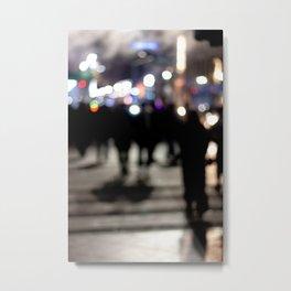 People Crossing the Street at Night Metal Print