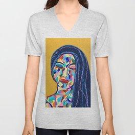 Pop Art woman face colors Fauve Lady 5 rock  Unisex V-Neck