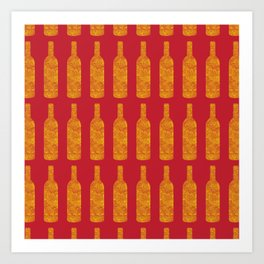 Wine Bottles Pattern Art Print
