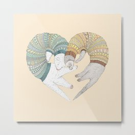 Ferret Sleep Love Metal Print