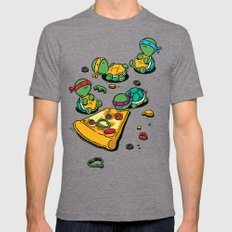 Pizza Lover LARGE Tri-Grey Mens Fitted Tee