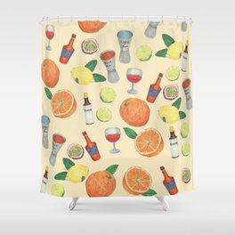 cocktail recipe pattern _ zombie Shower Curtain