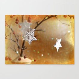 Paper Stars with Gold Canvas Print