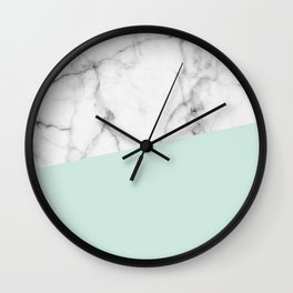 Real White marble Half pastel Mint Green Wall Clock