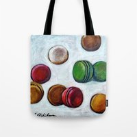 macarons Tote Bags featuring Macarons by Nath Chipilova