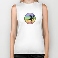 surfing Biker Tanks featuring surfing by Paul Simms