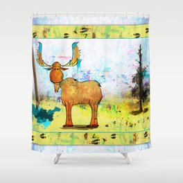 Blue Moose on the Loose ~Ginkelmier Shower Curtain