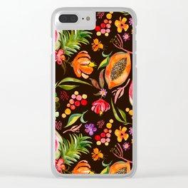 Tropical Fruit Festival in Black | Frutas Tropicales en Negro Clear iPhone Case