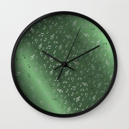 silver music notes metall green Wall Clock