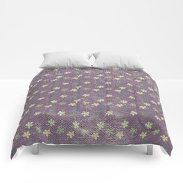 Vintage mauve purple green abstract leaves pattern Comforters