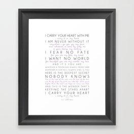 i carry your heart poem by e.e. cummings Framed Art Print