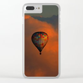 Balloon flight at sunset Clear iPhone Case