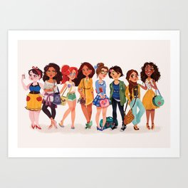 MODERN AU: Princesses Art Print