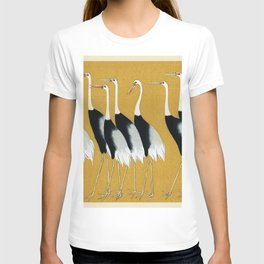 A traditional portrait of a flock of beautiful Japanese red crown crane by Ogata Korin (1658-1716) T-shirt