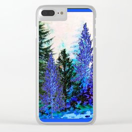BLUE-GREEN MOUNTAIN FOREST LANDSCAPE Clear iPhone Case