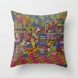 Street Stall Throw Pillow