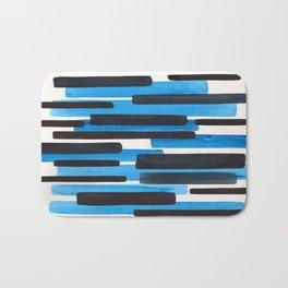Deep Blue Primitive Stripes Mid Century Modern Minimalist Watercolor Gouache Painting Colorful Strip Bath Mat