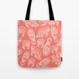Manatee Print - Coral Tote Bag