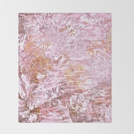 Abstract Autumn In Gold-Rosé Throw Blanket