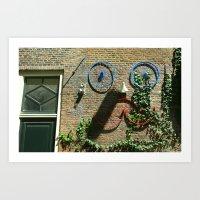 moustache Art Prints featuring Moustache by sustici