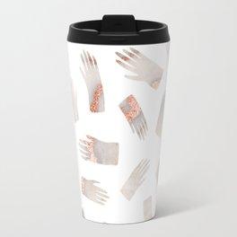 Make Light Work || - Rose Gold Marble Hands Print Travel Mug
