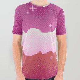 Lesbian Pride Flag Galaxy All Over Graphic Tee
