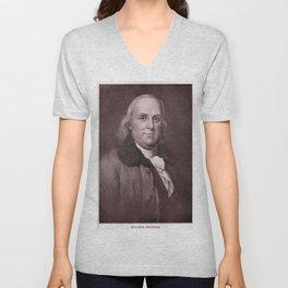 Vintage Benjamin Franklin Portrait Unisex V-Neck