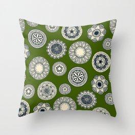 mandala cirque spot green Throw Pillow