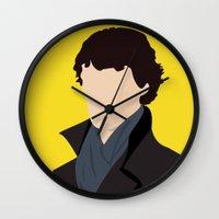 sherlock Wall Clocks featuring Sherlock by Jessica Slater Design & Illustration