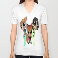 powerpuff girls V-neck T-shirts featuring Powerpuff Girls by A.D.A. Apparel
