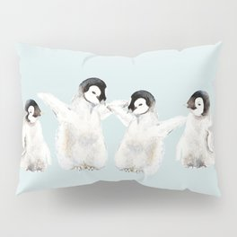 Playful Penguin Chicks - Watercolor Painting Pillow Sham