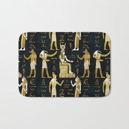 Egyptian Gods Gold and white on dark glass Bath Mat