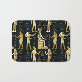Egyptian Gods Gold and white on dark glass Bath Mat
