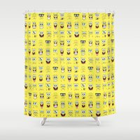 spongebob Shower Curtains featuring spongebob  , spongebob  games, spongebob  blanket, spongebob  duvet cover by ira gora