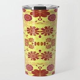 Red Retro Floral Travel Mug