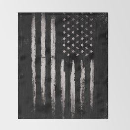 White Grunge American flag Throw Blanket