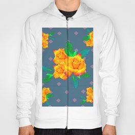 Teal Color Golden Roses Bouquet Patterns Hoody