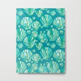 Modern Geometric Seashell Pattern, Aqua and Turquoise Metal Print