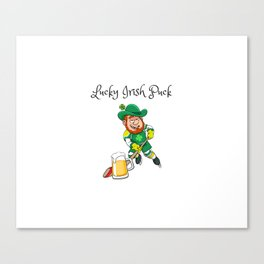 Lucky Irish Puck - Funny and Unique Irish Hockey St. Patrick's Day Design Canvas Print